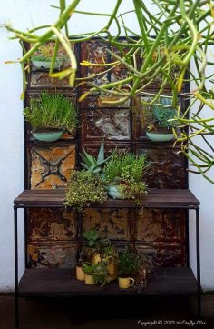 Transform a Boring Plant Stand With Tin Ceiling Tiles