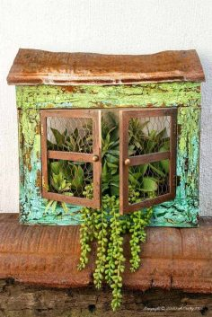 "DIY ""Cracked Up"" Window Planter Using Picture Frames"