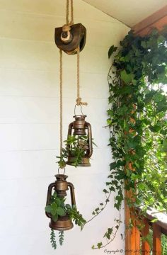 Old School Lantern Planters & Making A Faux Antique Pulley